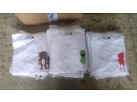 101 brand new kids t-shirts: unsold stock, various sizes featuring four cute logos.