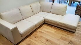 Cream leather corner sofa right hand side chase