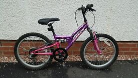 Girls Apollo FS20 Mountain Bike, 6 Gears, Pink/Purple, For Ages 7-9 Years