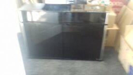 Black glass cabinet.