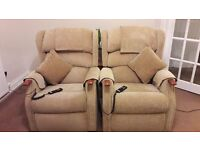 Riser Recliner Chairs x 2 & Matching 3 Seater Sofa
