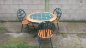 Farm Style TILED TABLE TOP & 3 Chairs