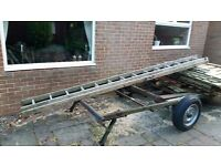 4m wooden double ladder
