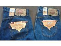 2 Pair Brand new Levi 501 Jeans (34 waist by 32 leg)
