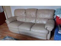 3 Seater, Mushroom brown, Leather Recliner.