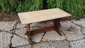 Vintage Oak Coffee Table Stripped Top