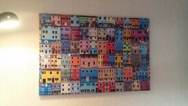 Canvas picture colourful house fronts from all over the world