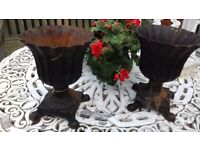 Pair of French Cast Iron Metal Planters / Plant Pots / Urns