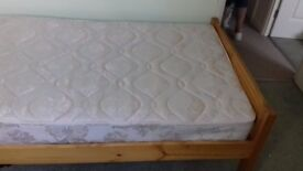 Single bed with solid pine frame and mattress in excellent condition