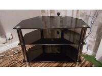 Black Glass and chrome tv stand excellent condition