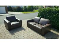 3 Piece Dark Brown Leather Natuzzi Suite For Sale