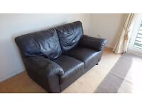 Chocolate Brown Mocha Leather Sofa Settee 2 Piece. 2 and 3 seat - Very Comfy Great Condition Bargain