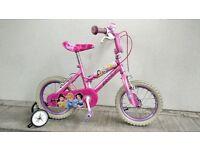 "(2227) 14"" 10"" DISNEY PRINCESS Girls Bike Bicycle Age: 4-5 Height: 98-112 cm Pink"