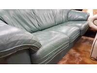 Green Leather 3 Seat Sofa In Good Condition