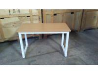 Metal framed desk with wooden top
