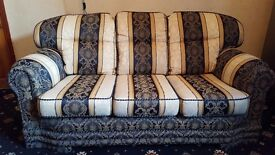 Cream and Blue English style 3 seater fabric sofa - very good condition