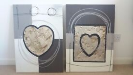 Set of 2 Large Loveheart Canvas Wall Art Prints Pictures In Cream, Grey, Brown & Gold Metal Effect