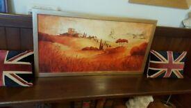 large gold framed landscape picture as new