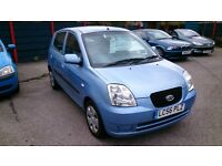 2006 (56) KIA PICANTO 1.1 DATE 5 DOOR HATCH MET BLUE 63K S/HISTORY JUNE 2017 MOT CD C/L E/W 2 KEYS +
