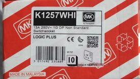Mk single socket 1g double pole switch socket box of10