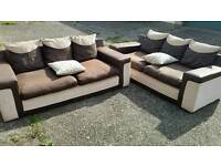 Sofas x2 suade leather & fabric(free delivery)