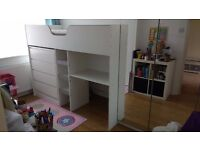 Cabin bed, solid, hardly ever used, as new condition with spotless IKEA mattress. White.
