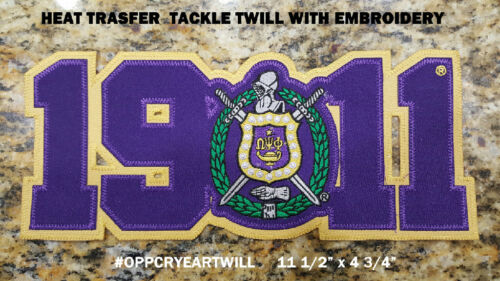 """Omega Psi Phi 11 1/2"""" Year and Crest Swoosh Logo Patch NEW!!"""