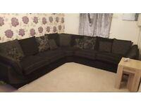 Large black corner sofa