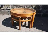 G-plan retro 60s mid-century teak coffee table with glass top and 3 eyelet tables