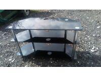 smokey black, 3 tier, glass tv stand