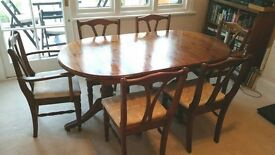 Ducal dining table and 6 chairs