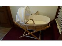 Moses basket, stand & 2 matresses