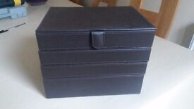 Brand new brown leather-look stackable jewellery box, 4 trays