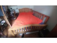 Solid oak (blonde) double bed head (inc. frame and mattress)