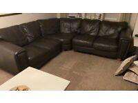 Dark brown 5 seater corner leather Sofa