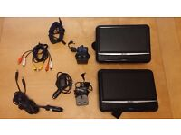 For Sale - Bush Twin Set Portable / In Car DVD Players with Home and Car Power Adaptors BDVD-7298M