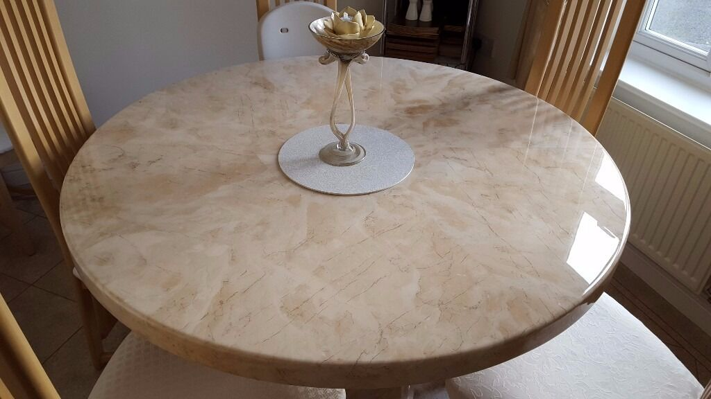 Italian Marble Dining Table With 6 High Backed Wooden