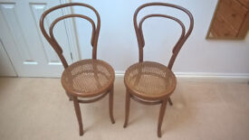 Victorian or Edwardian antique rattan seat bedroom side chairs - sold as pair
