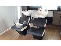2 x REM Aero Baltic Salon Backwash Units-Black/White chairs/chrome arms/tilting basins