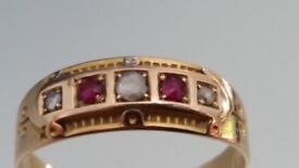 Superb Georgian 15ct Rose Gold Diamond and ruby Ring Chester 1824