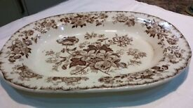 "Ynysmeudwy pottery 16"" meat plate, brown Woodbine pattern."