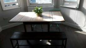 Extendable Antique Dining Table + Two Chairs