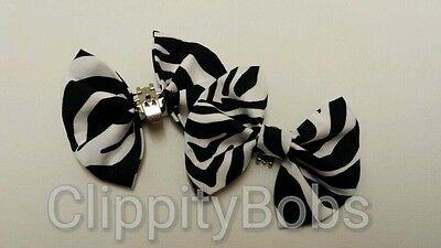 PAIR OF HANDMADE LADIES BLACK WHITE ZEBRA PRINT STRIPES FABRIC SHOE BOWS CLIPS 2