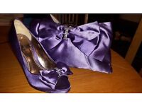 Phase Eight Purple Satin Heels Size 5 and Bag