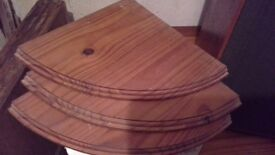 3 large pine corner shelves with fixings