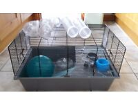 Hamster cage and tunnel/ tubing plus bedding and food inc Hamster ball, water bottle, Wheel