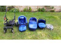 Chelsea/royal blue 3 in 1 pushchair, pram baby seat travel system