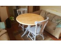 1040mm Round Table with Pedestal and 2 Chairs - Painted in Farrow and Ball Parma Grey