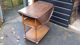 ERCOL Dark Solid Elm & Beech Drop Leaf Tea Trolley..................... Two Available.