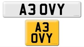 A3 OVY Davy David Dav Dave private cherished personal personalised registration plate number